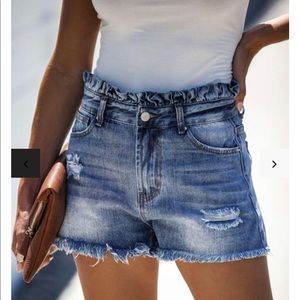 Kendall High Rise Ruffle Waist Denim Shorts
